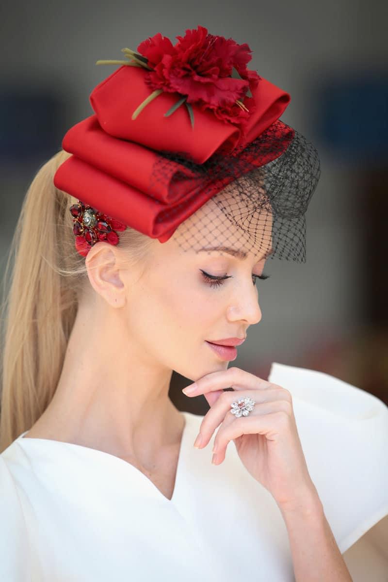 Tatiana Korsakova at Ascot, wearing red hat