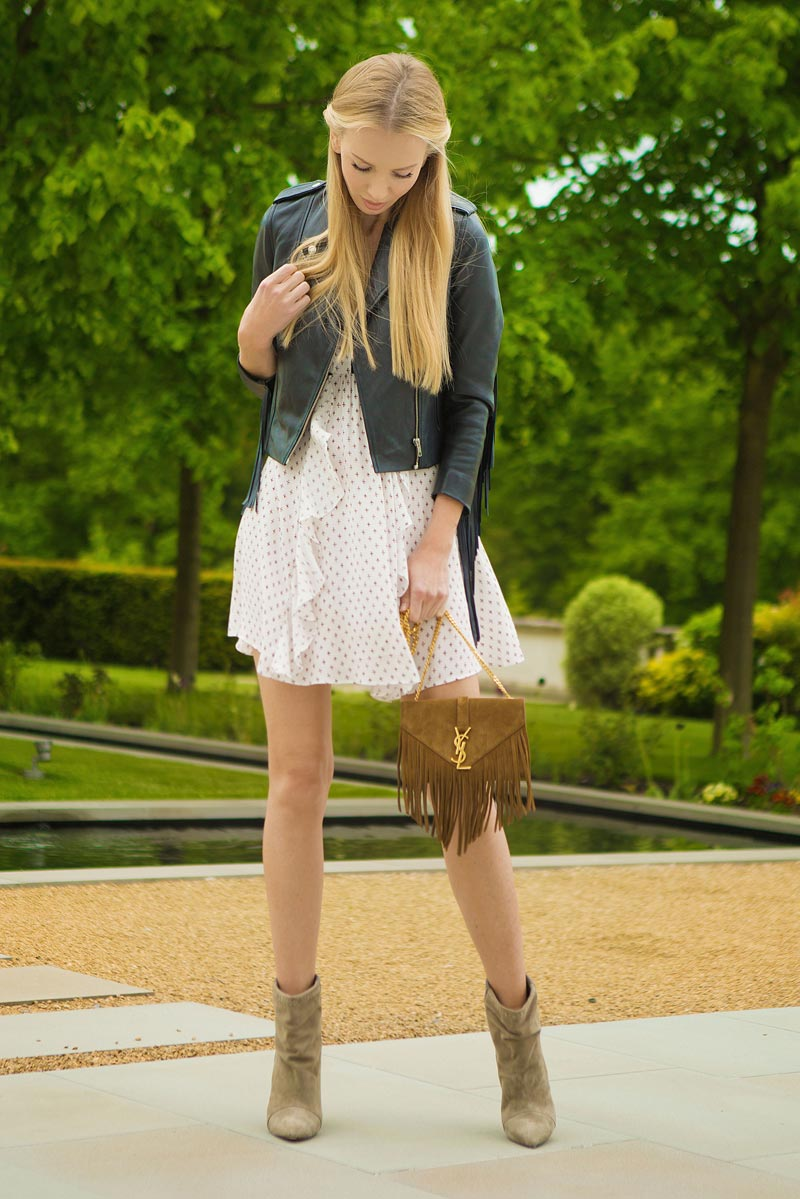 Tatiana Korsakova showing fringe and leather look, for fashion trend