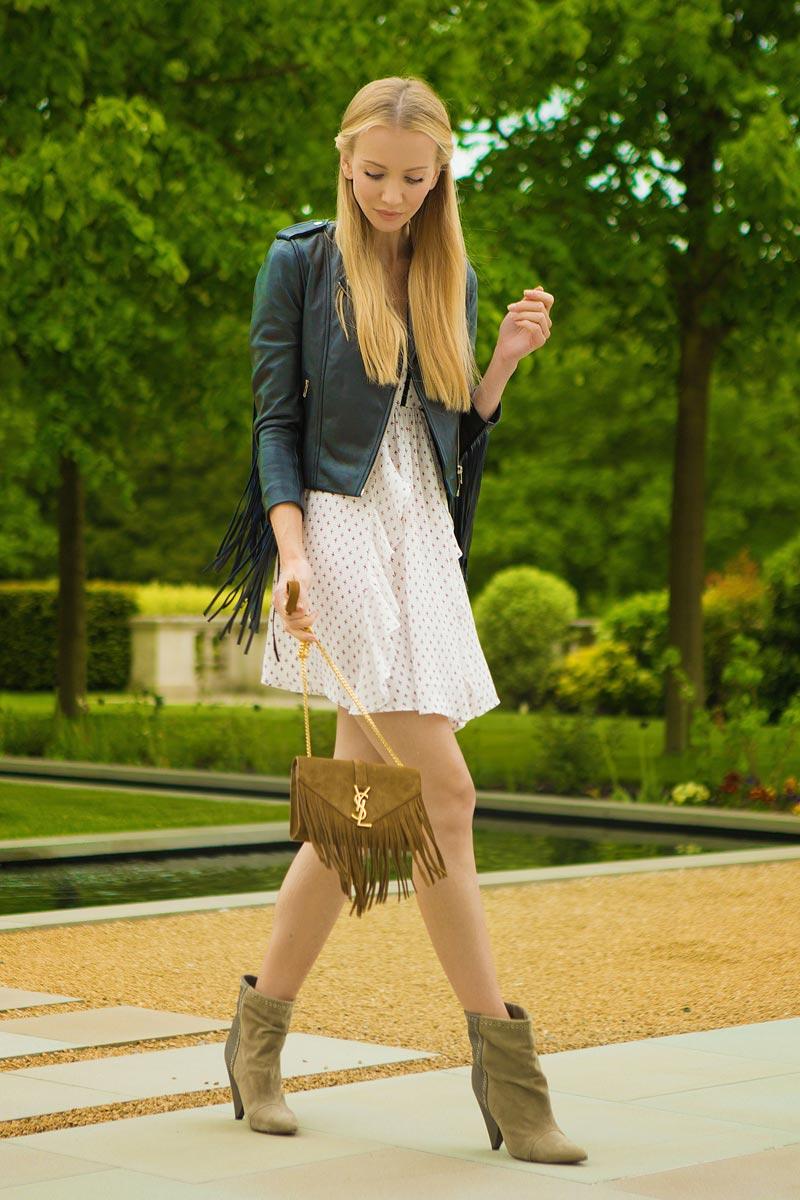 Tatiana Korsakova fringe and leather look, while walking