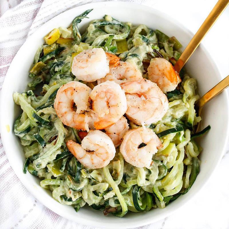 zoodles and sautéed shrimp recipe