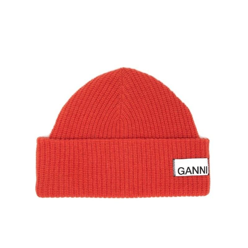 GANNI Stitched-logo ribbed wool-blend beanie