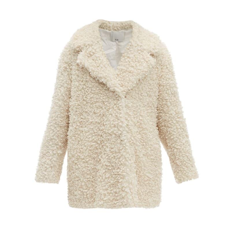 TIBI Notch lapel faux-shearling coat