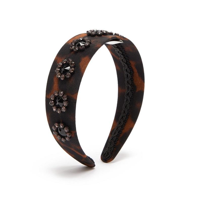 ERDEM Bead-embellished leopard-print headband