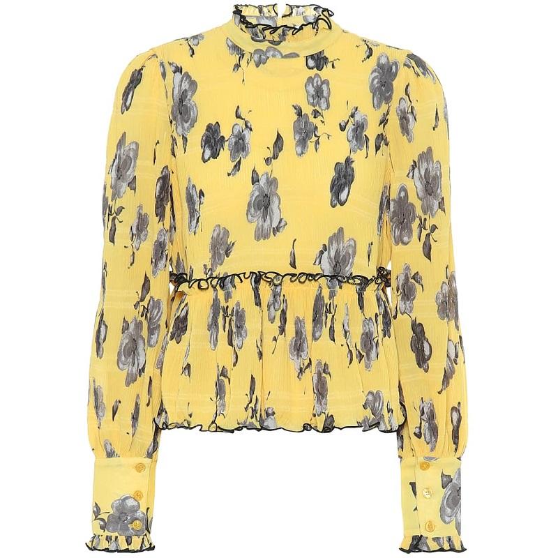 GANNI Floral crêpe blouse