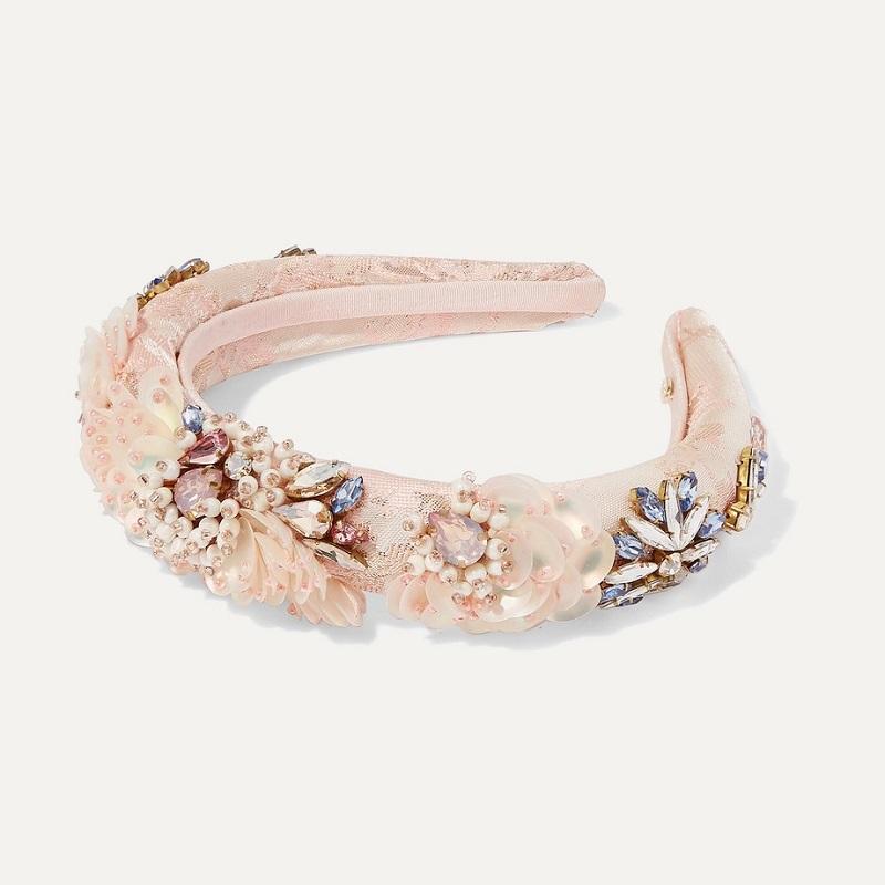 MARYJANE CLAVEROLVersailles embellished satin-jacquard headband