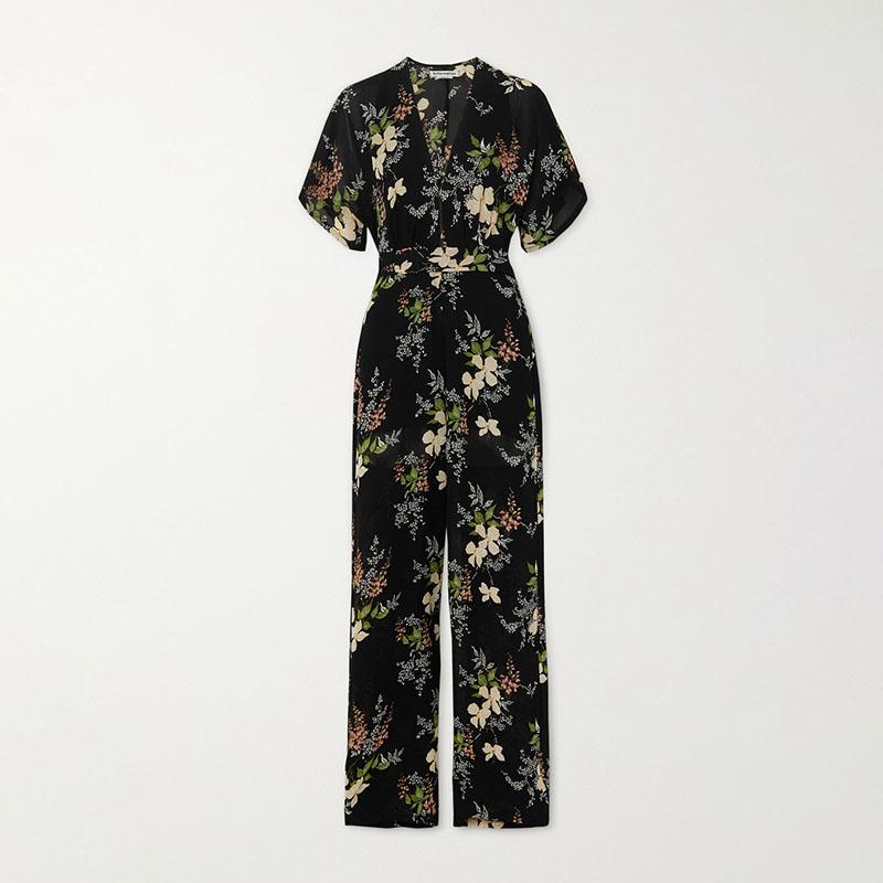 Reformation Lemongrass floral-print georgette jumpsuit