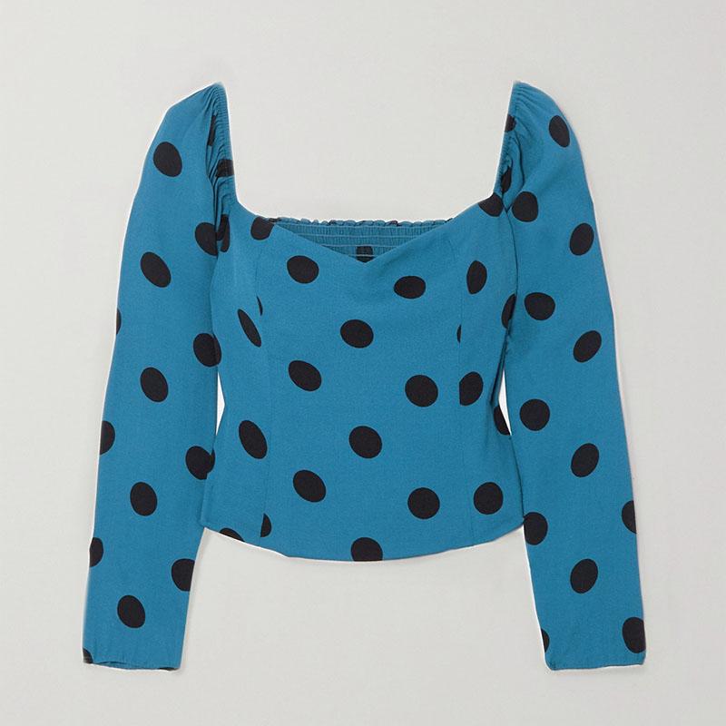 Reformation Marjorie polka-dot shirred crepe blouse
