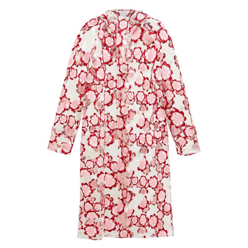 4 MONCLER SIMONE ROCHA Floral-embroidered PVC raincoat