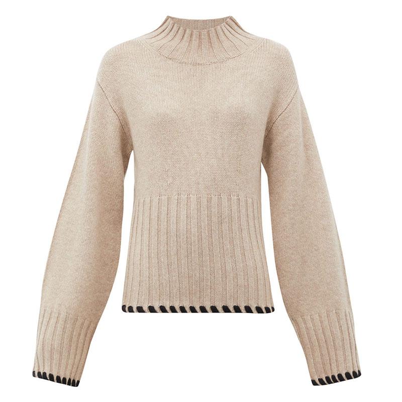 KHAITE Colette whipstitched cashmere sweater