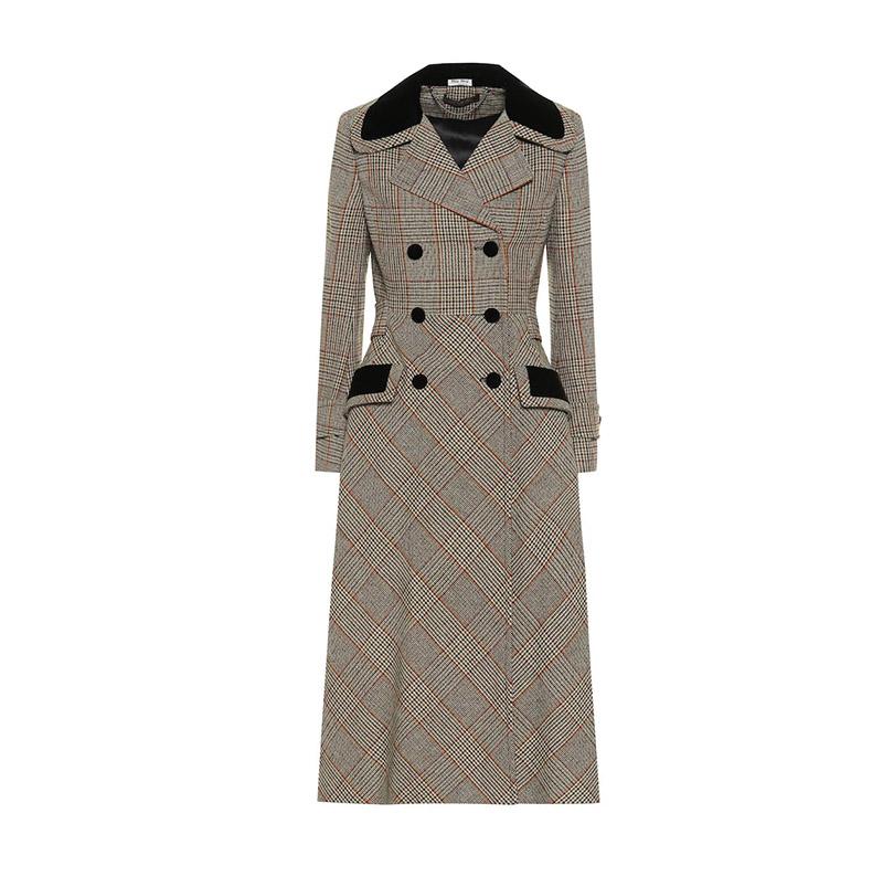 MIU MIU Checked wool blend coat.