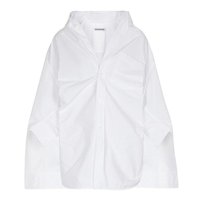белая рубашка BALENCIAGA Cotton poplin shirt