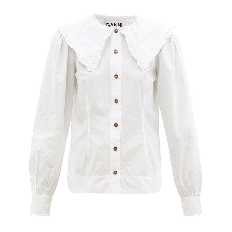 белая рубашка GANNI Ruffled-collar cotton-poplin shirt