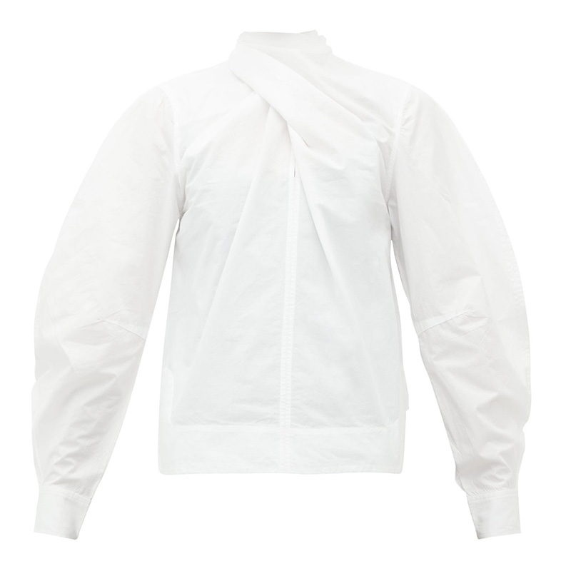 GANNI Twist-neck cotton-poplin blouse