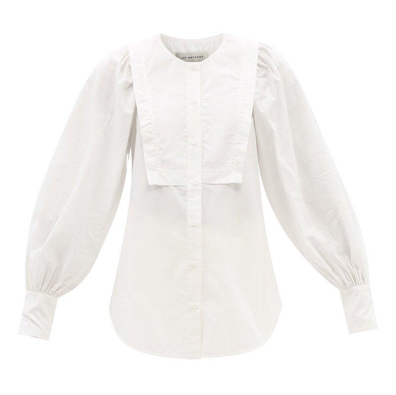 белая рубашка LEE MATHEWS Frances balloon-sleeve organic-cotton shirt