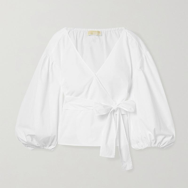 MICHAEL MICHAEL KORS Cotton-poplin wrap top