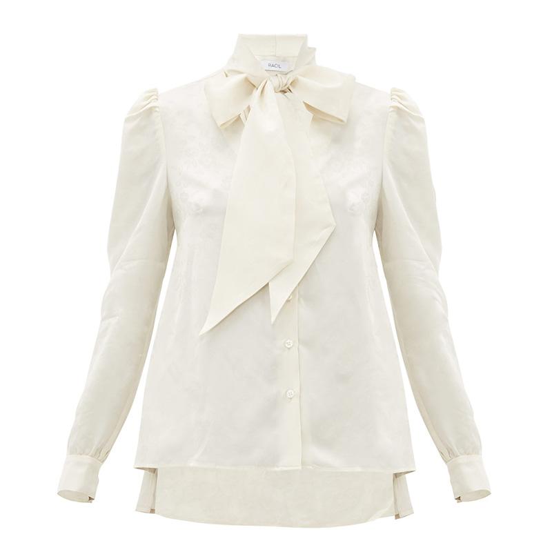RACIL Solange floral-jacquard satin blouse