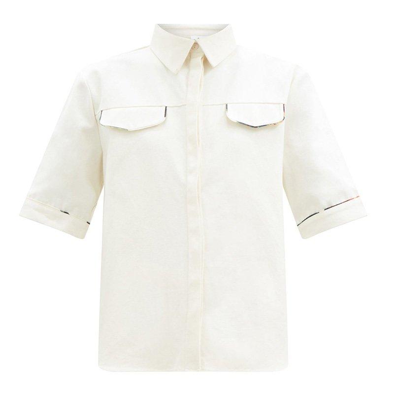 белая рубашка SIR Maurice piped cotton-canvas shirt