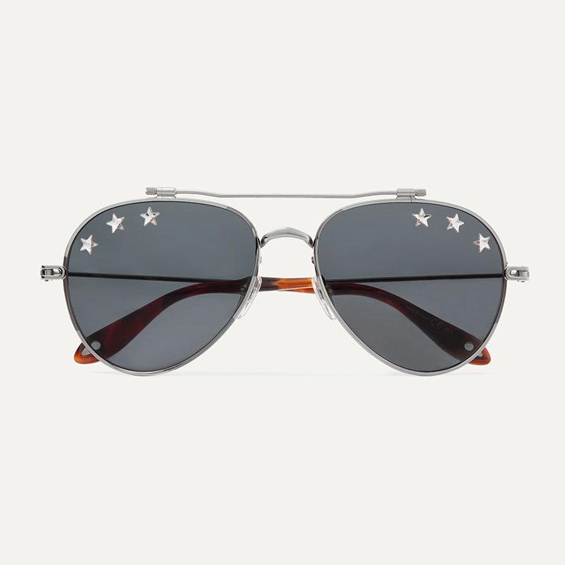 Солнцезащитные очки GIVENCHY Embellished aviator-style silver-tone sunglasses