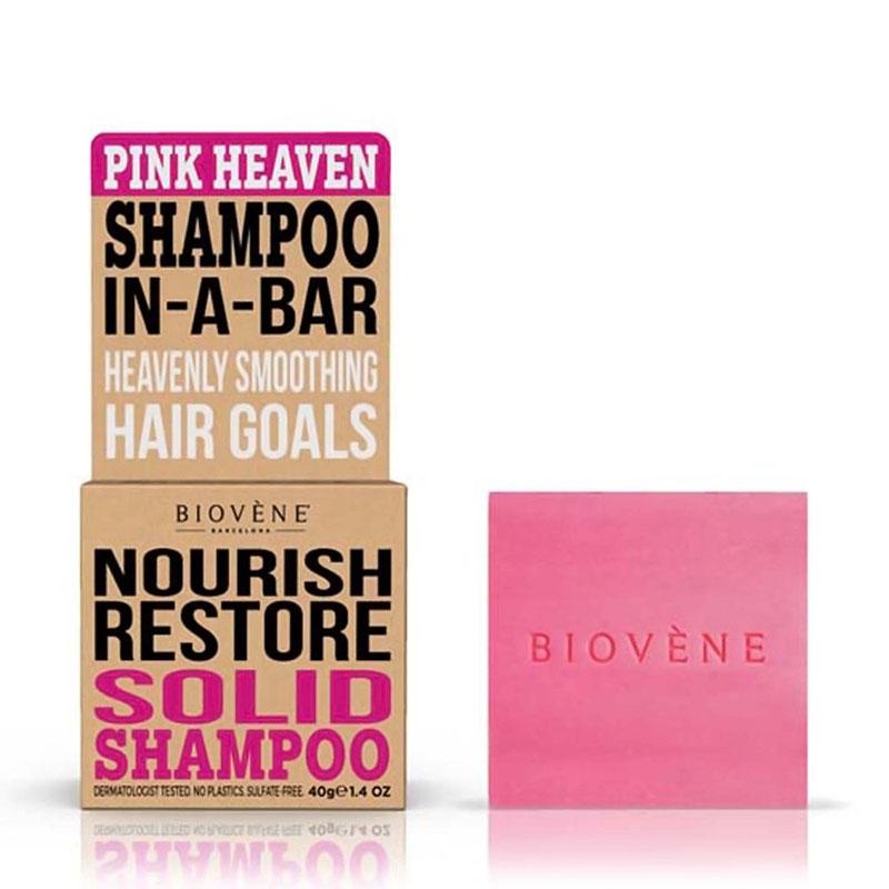 твёрдый шампунь Biovène Barcelona Nourish Restore - Pink Heaven Shampoo In-A-Ba