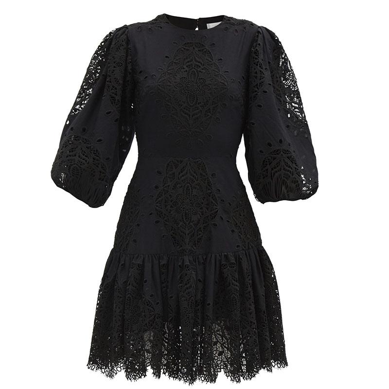 BORGO DE NOR Tabitha open-back lace-panel poplin mini dress