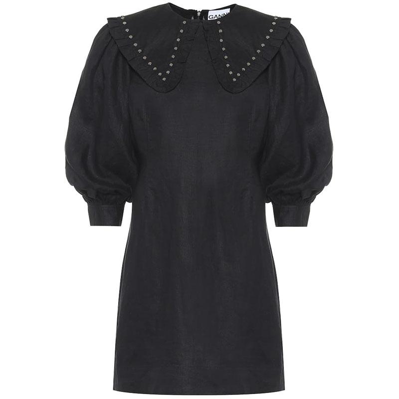 GANNI Studded linen minidress