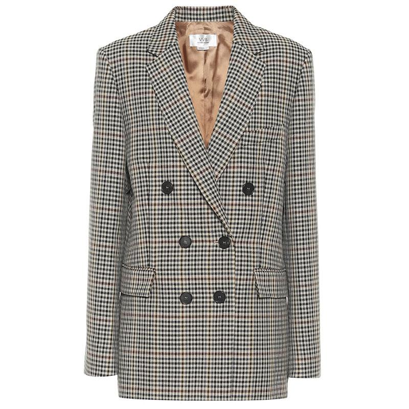VICTORIA BECKHAM Checked wool-blend jacket