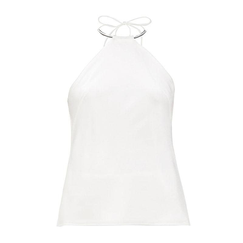 GALVAN Bari metal-collar halter-neck satin camisole