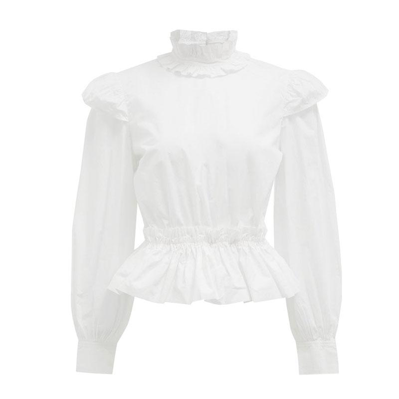Ruffle-collar peplum-hem organic-cotton blouse