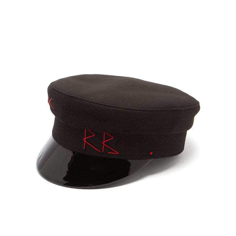 RUSLAN BAGINSKIY Vinyl-brim wool-felt baker boy cap