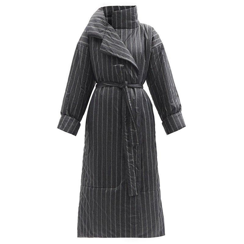 NORMA KAMALI Sleeping Bag striped padded coat