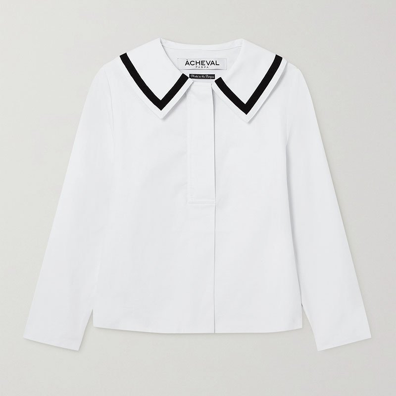 ÀCHEVAL PAMPA Sailor velvet-trimmed cotton-blend shirt