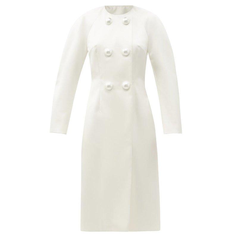 CHRISTOPHER KANE Pearl-button satin evening coat