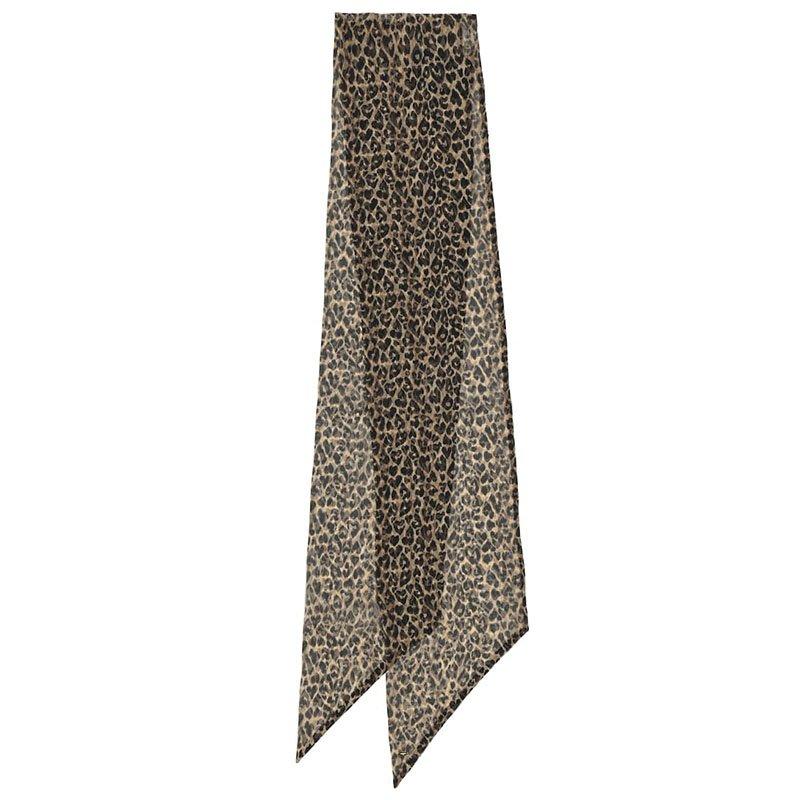 SAINT LAURENT Leopard-print silk muslin scarf