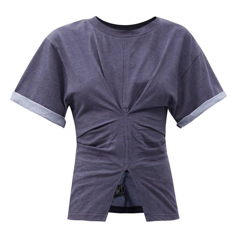 ISABEL MARANT Soyona gathered slit-hem cotton-jersey T-shirt