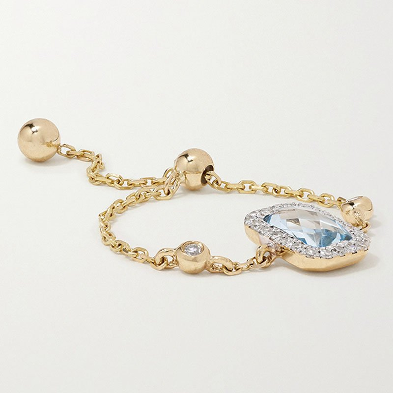 ANISSA KERMICHE 14-karat gold, topaz and diamond ring