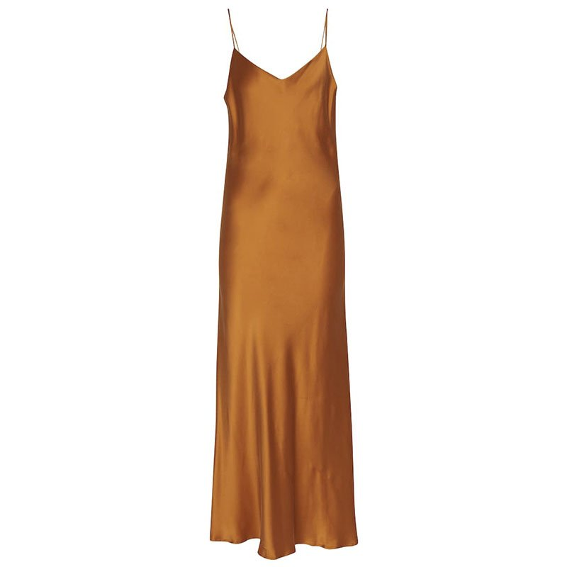 ASCENO The Lyon silk satin slip dress