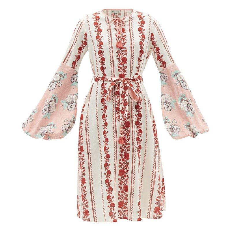D'ASCOLI Zora floral-print cotton-khadi midi dress
