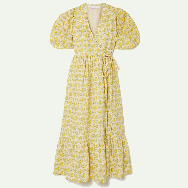 FAITHFULL THE BRAND +NET SUSTAIN Thulla floral-print linen wrap midi dress