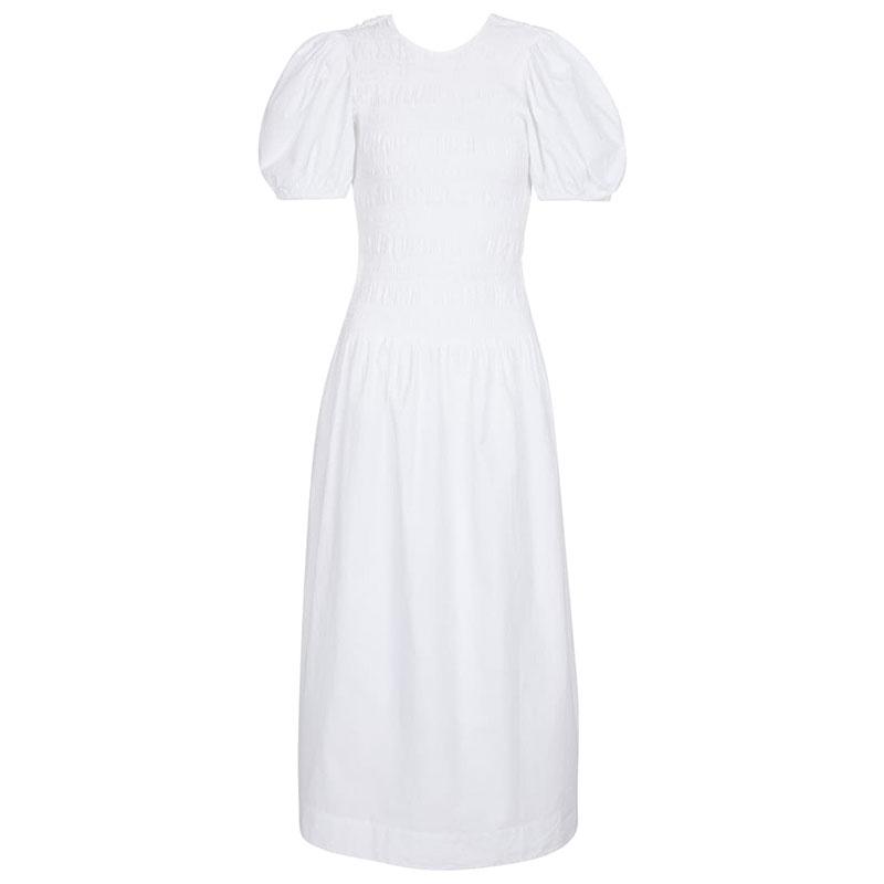 GANNI Shirred cotton poplin midi dress