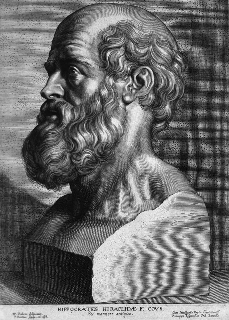 Гравюра: бюст Гиппократа работы Паулюса Понтия