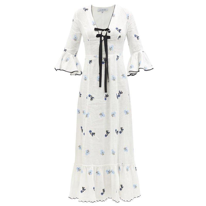 LUG VON SIGA Diana floral-embroidered linen midi dress