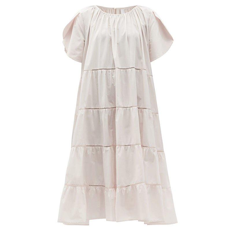 MERLETTE Alegre tiered cotton-poplin sun dress