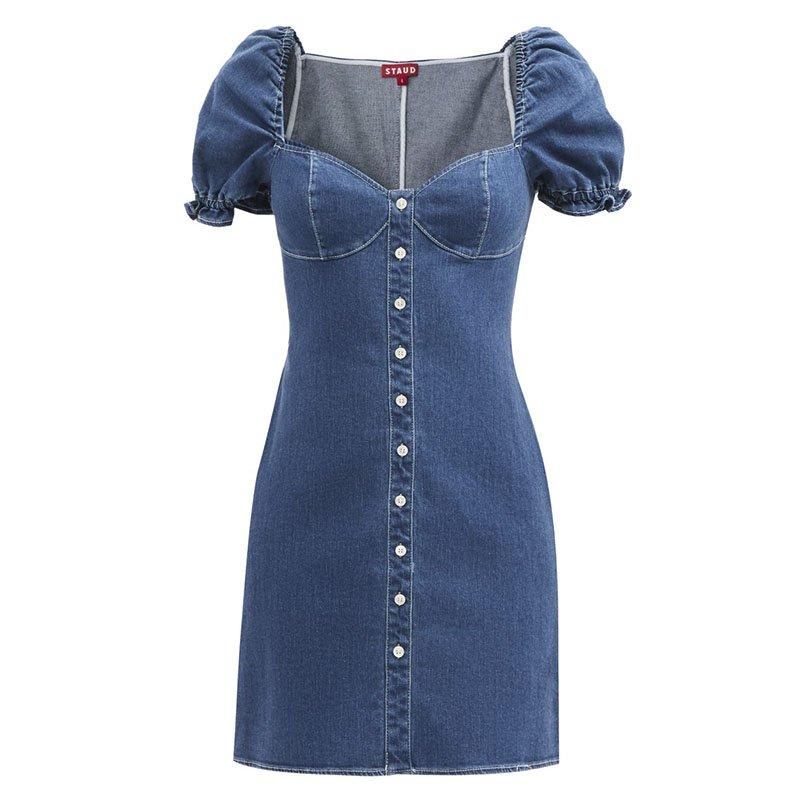 STAUD Sur sweetheart-neck denim mini dress