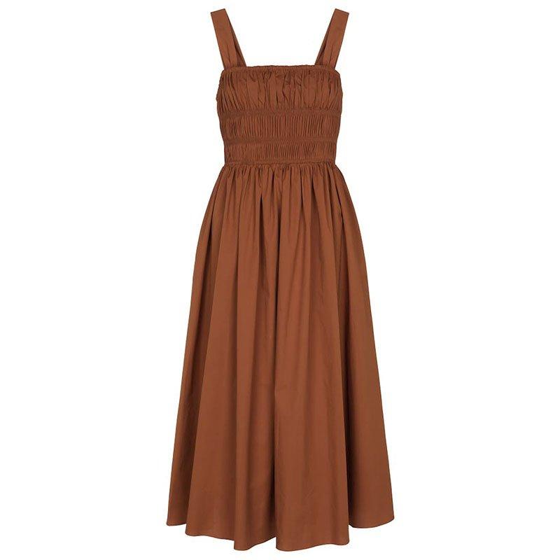 STAUD Ida cotton poplin midi dress