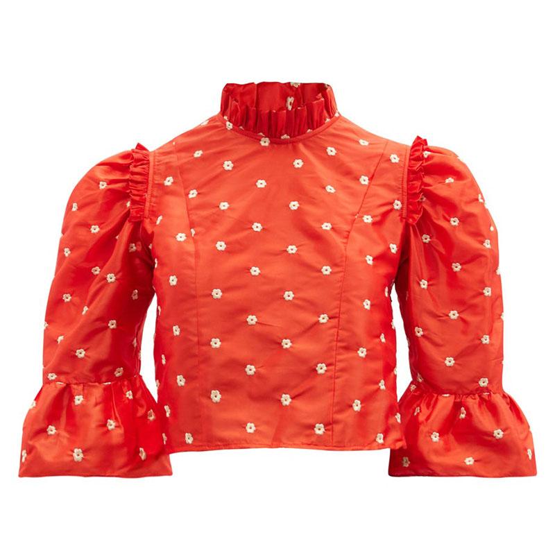 BATSHEVA Floral-embroidered silk-taffeta cropped top