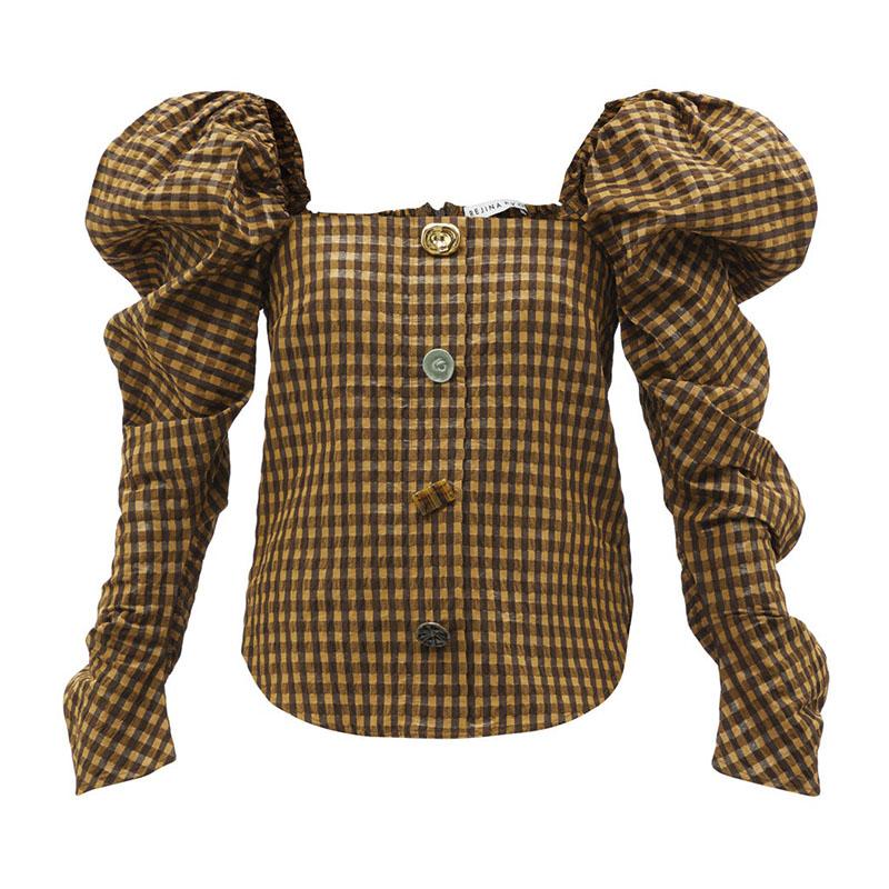 REJINA PYO Maya puff-sleeve seersucker blouse